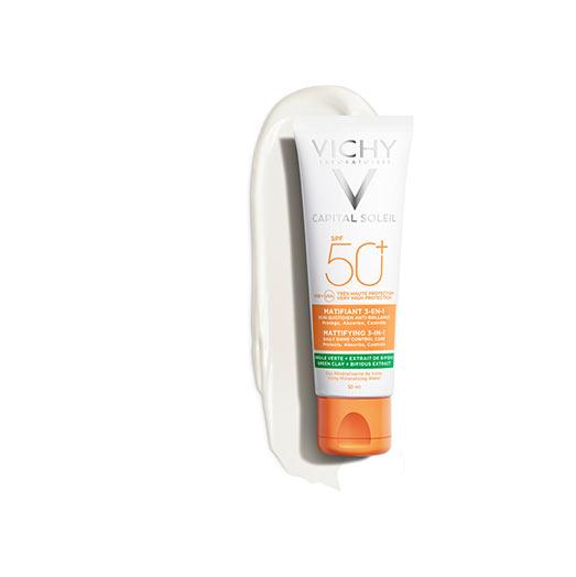 Капіталь Солей Сонцезахисний матуючий крем 3-В-1 для жирної, проблемної шкіри, SPF50+